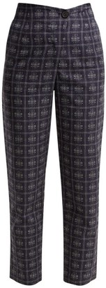 Palmer Harding Palmer//Harding Palmer//harding - Fractured Crosshatch Check Cotton Trousers - Womens - Blue Multi
