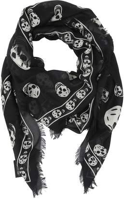Alexander McQueen Skull Printed Muslin Scarf