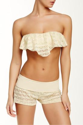 Reef Summer Breeze Crochet Ruffle Bandeau Bikini Top $43 thestylecure.com
