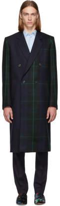 Paul Smith and Green Tartan Mixed Media Coat