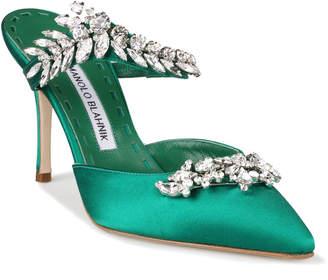 f6c0a08f137 Manolo Blahnik Lurum 90 emerald satin pumps