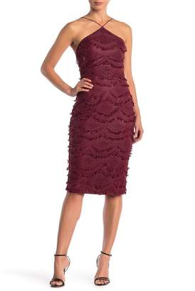 Lumier Raye Embroidered Tassel Sheath Midi Dress