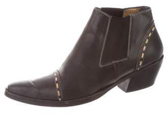 Sartore Leather Pointed-Toe Booties Black Leather Pointed-Toe Booties