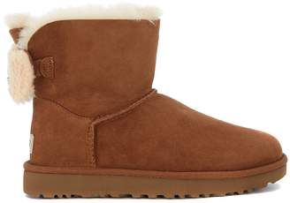 UGG Arielle Ankle Boots In Brown Leather And Wool Bow