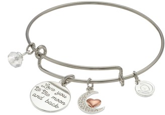 "Love This Life love this life Two Tone ""Love You to the Moon and Back"" Charm Bangle Bracelet"