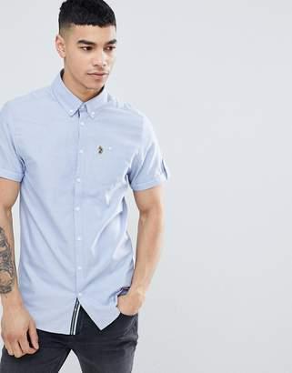 Luke Sport Jimmy Travel Short Sleeve Buttondown Shirt in Blue