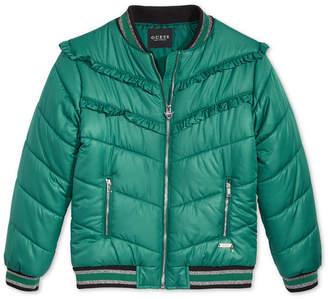 GUESS Big Girls Ruffle-Trim Puff Jacket