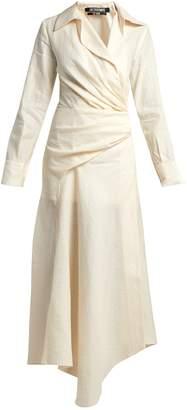 Jacquemus Sabah ruched linen-blend midi dress