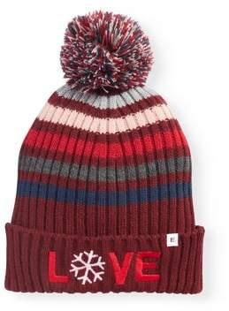 EV1 from Ellen DeGeneres Women's Striped Ribbed Knit Cuffed Hat With Pom (Burgundy)