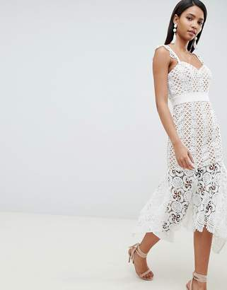 Jarlo all over cutwork lace midi dress in nude
