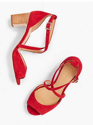 Talbots Gisela Cross-Strap Sandals - Kid Suede
