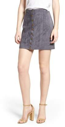 BISHOP AND YOUNG Bishop + Young Front Snap Faux Suede Miniskirt