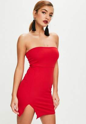 Missguided Red Scuba Bandeau Split Side Mini Dress