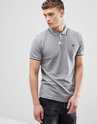 Fred Perry Twin Tipped Polo Shirt In Gray Marl