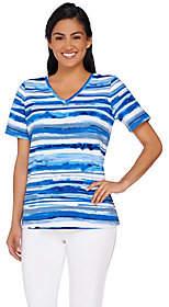 Denim & Co. Painter Stripe Printed Short SleeveTop