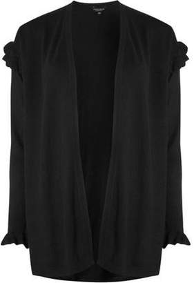 Dorothy Perkins Womens Black Ruffle Shoulder Cardigan