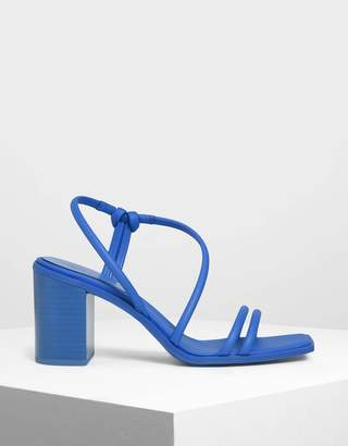 Charles & Keith Asymmetrical Strappy Block Heels