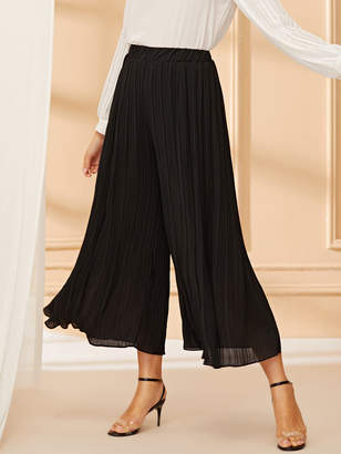 Shein Solid Pleated Wide Leg Pants
