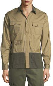 Men's Colorblock Long-Sleeve Sport Shirt