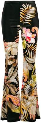 Black Coral print flared trousers