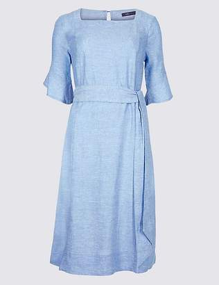 Marks and Spencer Linen Blend Half Sleeve Tunic Dress