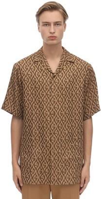 Gucci Jacquard Gg Viscose Blend Bowling Shirt