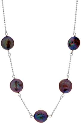 """Honora Cultured Pearl Coin Station 18"""" Necklace, Sterling 4.0g"""