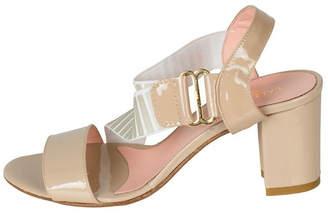 Lady Doc Beige-White Stripped-Elastic Heel