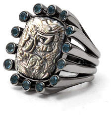 Stephen Dweck Carved Gray Mother-of-Pearl Ring with Blue Topaz, Size 7