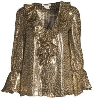 Alice + Olivia Elliot Long-Sleeve Leopard Ruffle Blouse