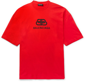 Balenciaga Logo-Print Cotton-Jersey T-Shirt - Men - Red