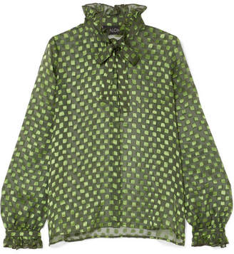 Saloni Emile Pussy-bow Fil Coupé Silk-blend Chiffon Blouse - Green