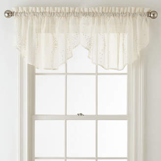 Liz Claiborne Home Expressions Lisette Ogee Embroidery Sheer Rod-Pocket Ascot Valance