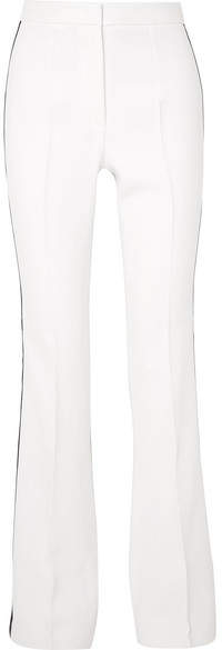 Striped Crepe Flared Pants - White