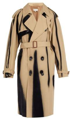 Maison Margiela Spray Effect Flocked Twill Trench Coat - Mens - Beige