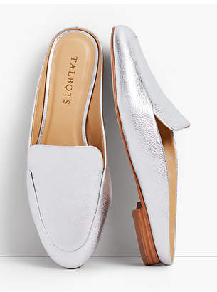 Talbots Frannie Leather Mules-Metallic