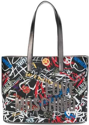Love Moschino graffiti tote bag