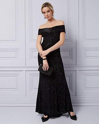 Le Château Burnout Velvet & Foil Off-the-Shoulder Gown