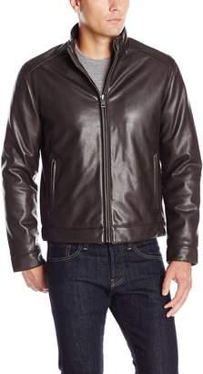Cole Haan Men's Zip Front Faux Leather Moto Jacket