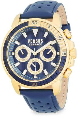 Versace Aberdeen Stainless Steel & Leather-Strap Watch
