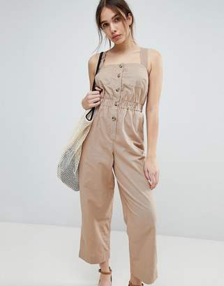 Asos DESIGN Jumpsuit with Elasticated Waist and Button Detail in Twill