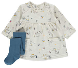 George Printed Dress and Tights Outfit