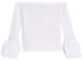 Rebecca Minkoff Off-the-shoulder Fringe-trimmed Crocheted Cotton-blend Top