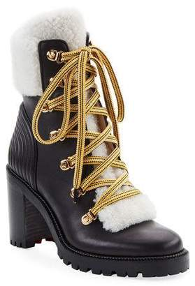 Christian Louboutin Yetita Red Sole Hiker Booties with Shearling Collar