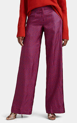 Barneys New York Women's Chain-Print Silk Twill Pants - Red