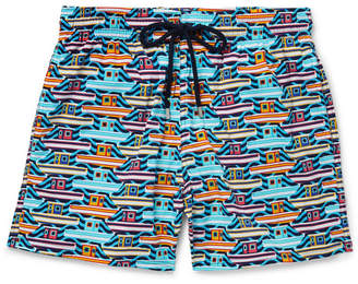 Vilebrequin Moonrise Mid-Length Printed Swim Shorts - Men - Blue
