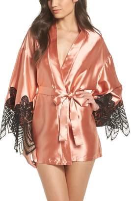 Oh La La Cheri Drama Lace Trim Satin Robe