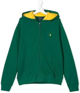 Ralph Lauren TEEN logo embroidered full-zip hoodie