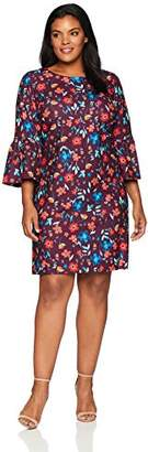 Calvin Klein Women's Plus Size Floral Bell-Sleeve Shift Dress