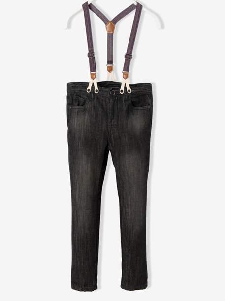 Boys' Trousers with Detachable Braces - blue dark wasched